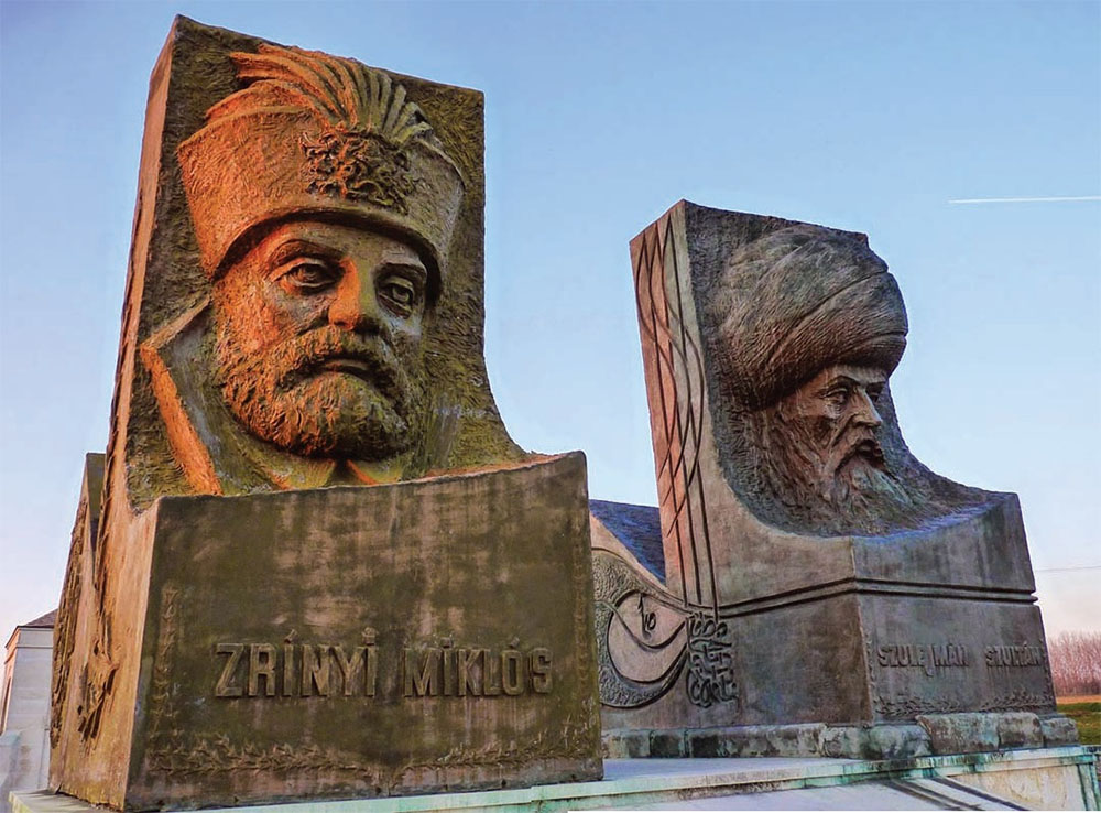 Statues of the Ottoman sultan Suleiman I and his Hungarian enemy,  Miklós Zrínyi , at the Hungarian-Turkish Friendship park in the town of Szigetvár in southwestern Hungary.