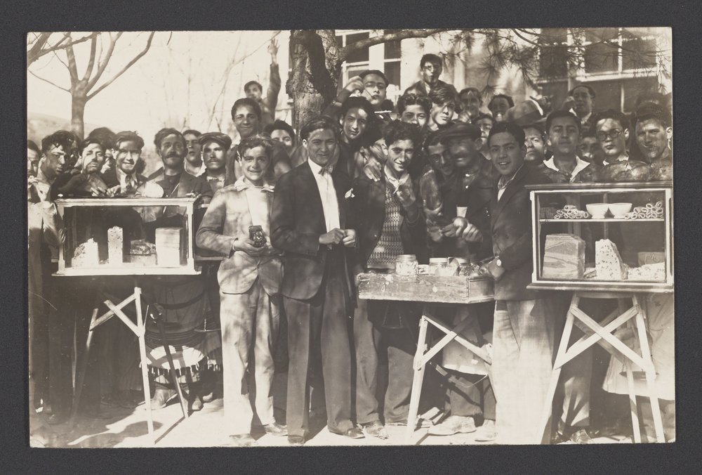 Robert College students together with street vendors at the land of sweets, 1929-1930, CU-RBML, RC Documents