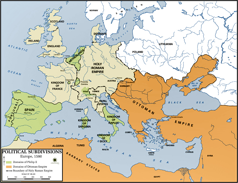 Map of the Ottoman Empire and the Domain of Philip II (King of Spain) in 1580