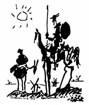 Don Quixote (and Sancho Panza) by Pablo Picasso, 1955