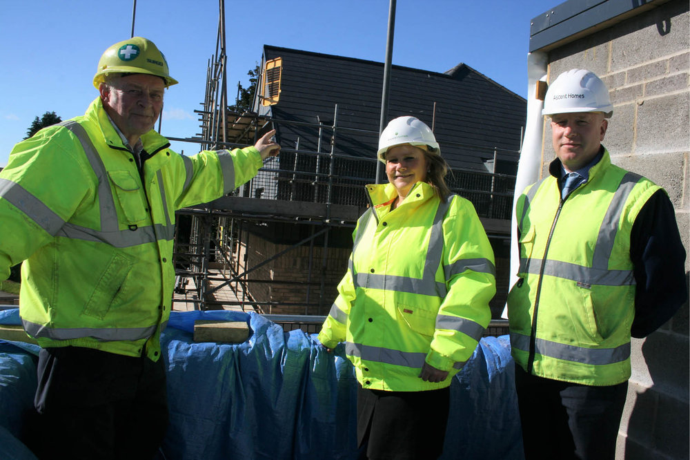 (l to r) Stu McDougal, senior site manager, Surgo Construction, Claire Scott, head of sales and marketing, Ascent Homes and Duncan Bowman, development director, Ascent Homes.