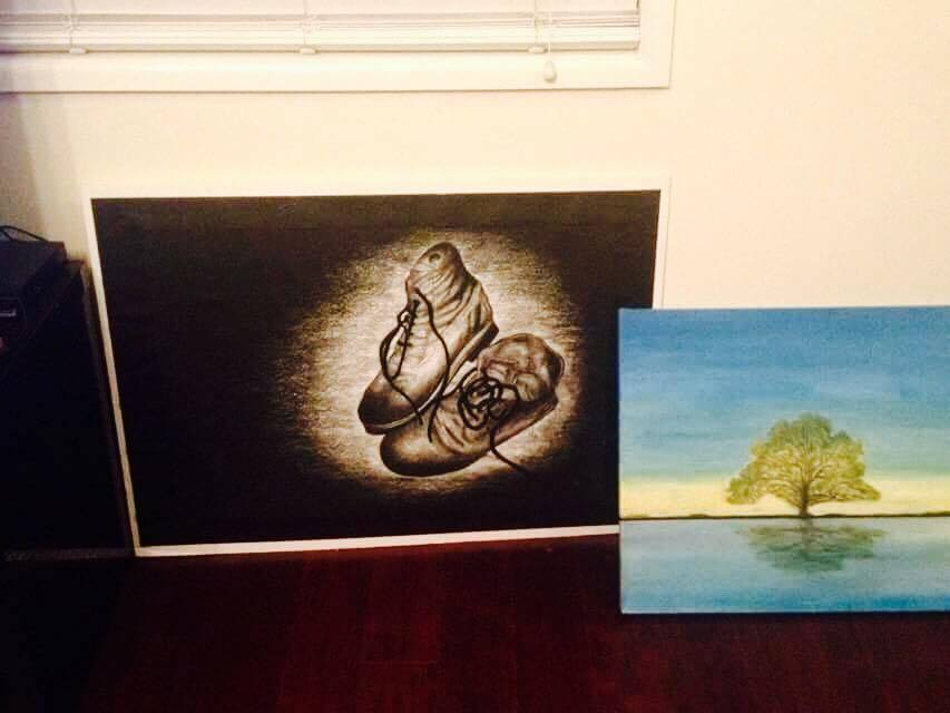 Yr 12 Art - Left (Charcoal), Right (Acrylic)