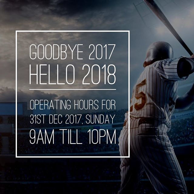 Let's swing away the last day of 2017 and usher in a new year!  Kindly take note that operating hours tomorrow, on new year's eve will be from 9am till 10pm instead.  Also, it will be the last day of our FREE swings before the year ends - so don't miss it!  #homerunsg #homerunbaseball