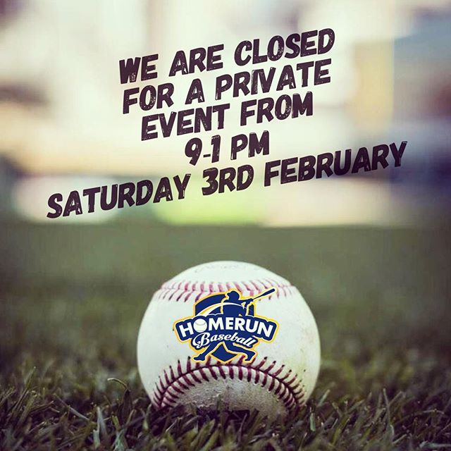Kindly take note that we will be closed for walk-ins due to an event from 9am-1pm this Saturday (3 Feb). Business will be as usual after the event. Sorry for any inconveniences caused.  #homerunsg #homerunbaseball
