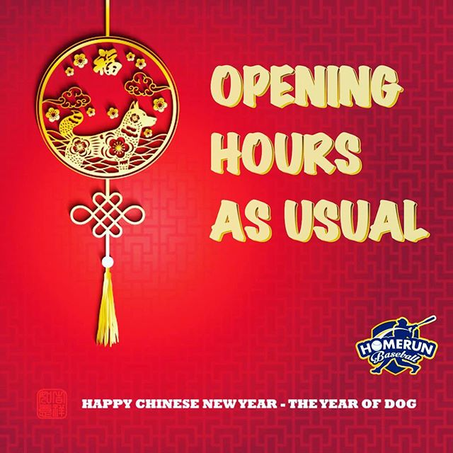 Wishing everyone a prosperous lunar new year! Our business hours remains as usual. Friday 1pm-1am; Saturday 9am-3am; Sunday 9am-12midnight. Now you can enjoy a cooling new year with our newly installed aircons! Huat Ah! #aimtoserveyoubetter #homerunsg #homerunbaseball