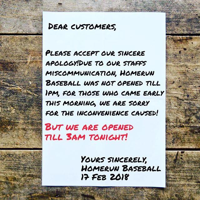 We are sorry! #homerunsg #homerunbaseball