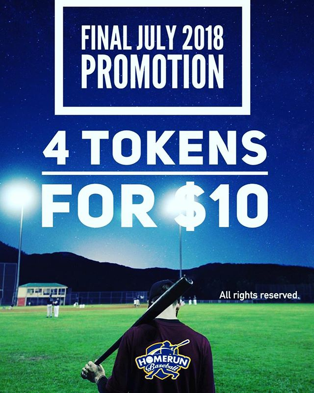 Promotion period 30th June - 12th August. Additional 1token if you show us your membership card. Enjoy swinging! #homerunsg #homerunbaseball