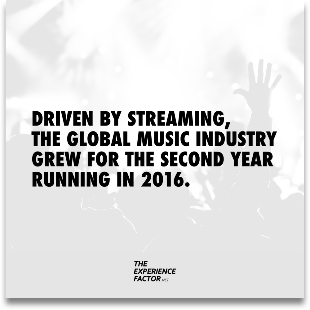Driven by streaming, the global music industry grew for the second year running in 2016.The Experience Factor by Geoff Luck.