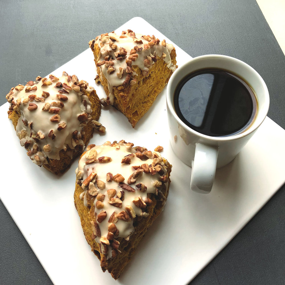 VEGAN PUMPKIN SCONE WITH MAPLE GLAZE AND PECANS