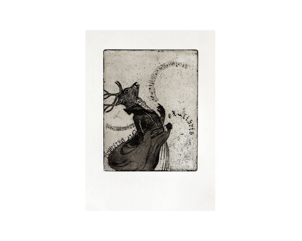 Ex Libris, limited edition etching print, aquatint, eau forte 10 x 13 cm 2008
