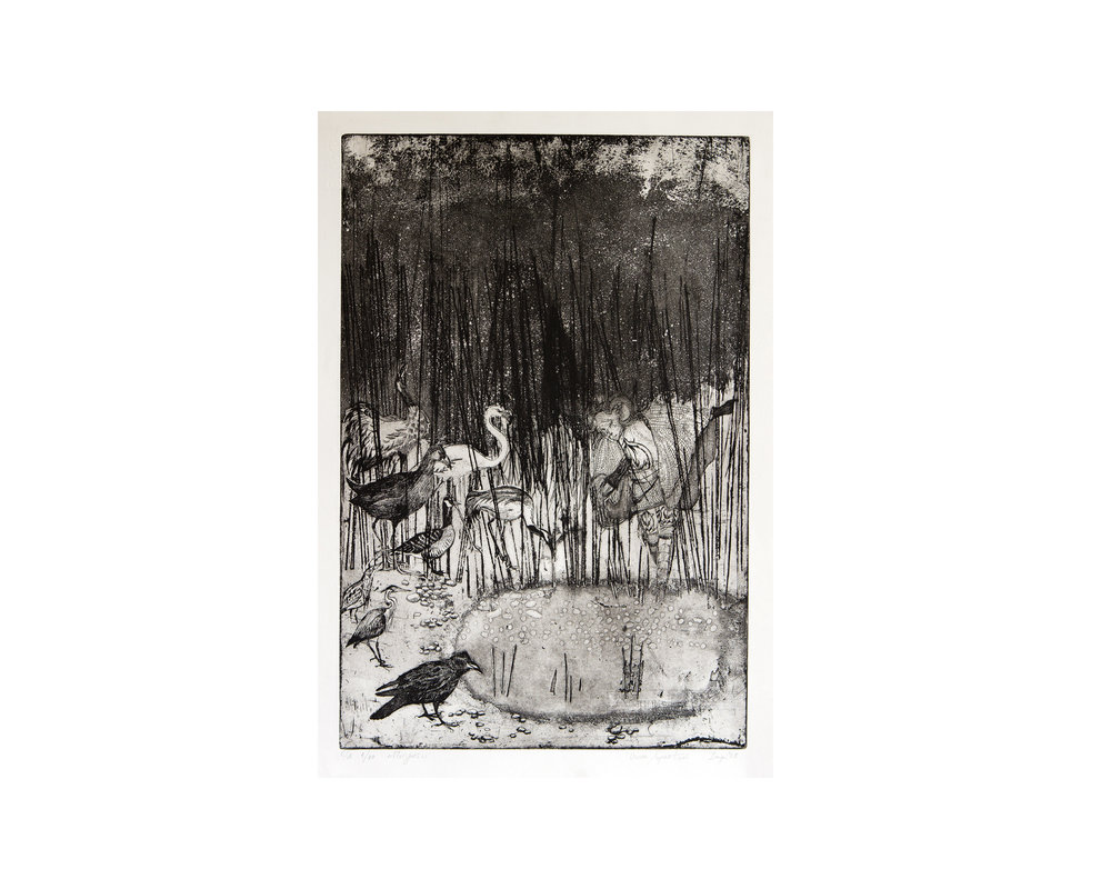 """At the Small Lake"", Aquatint, eau forte, vernis mou 30 x 45 cm 2008"