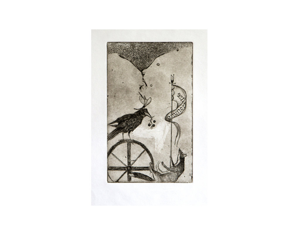 """Enthronement"", aquatint, eau forte 12 x 19 cm 2007"