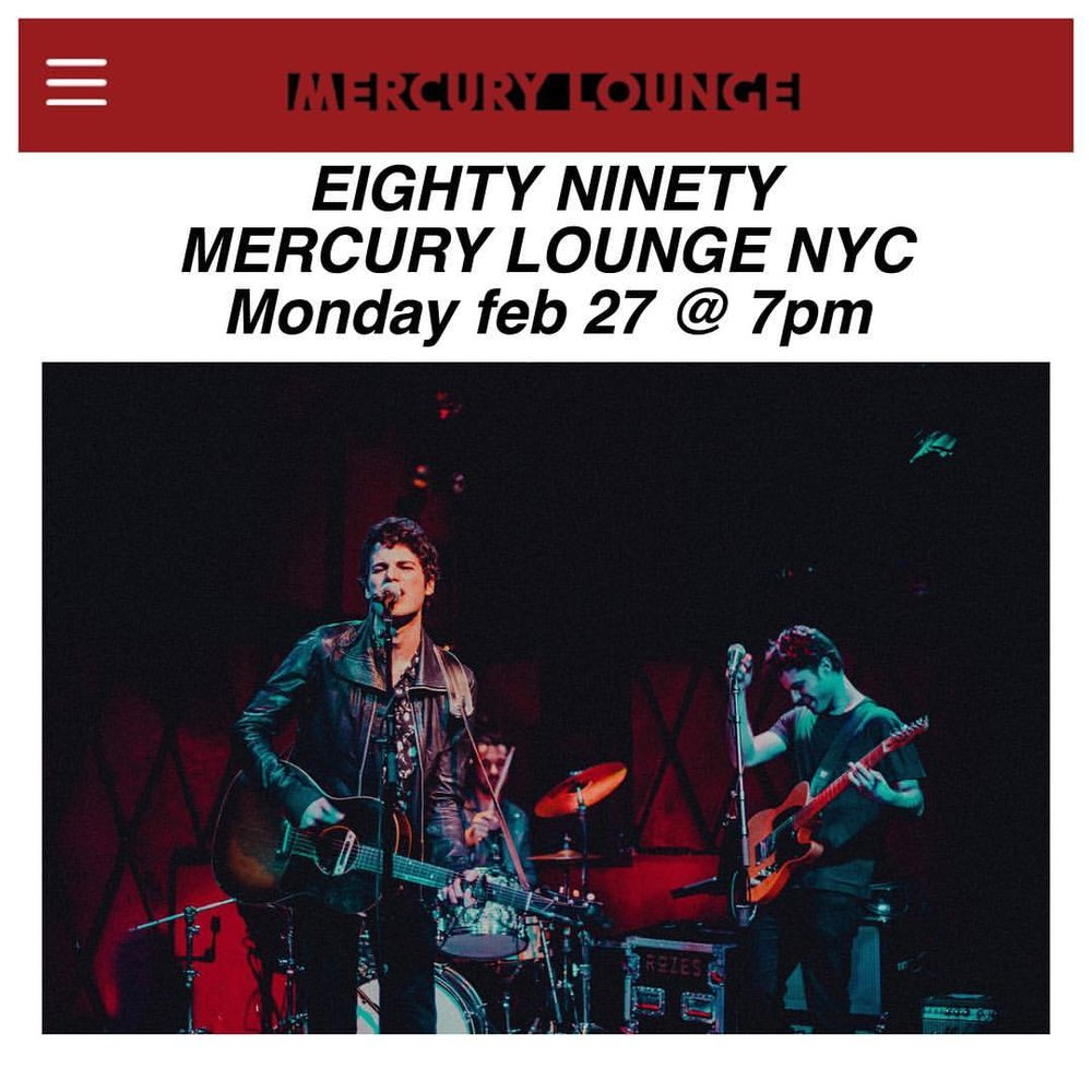 Surprise! We're playing some new songs at @mercuryloungeny this Monday (feb 27), set time 7pm. Ticket link in bio or at the door. See you there NYC 💘