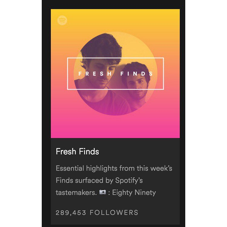 """So humbled and grateful to @spotify for putting us on the cover of this week's #FreshFinds playlist ❤️❤️❤️ and including #Fading of our new EP """"Elizabeth""""!!!"""