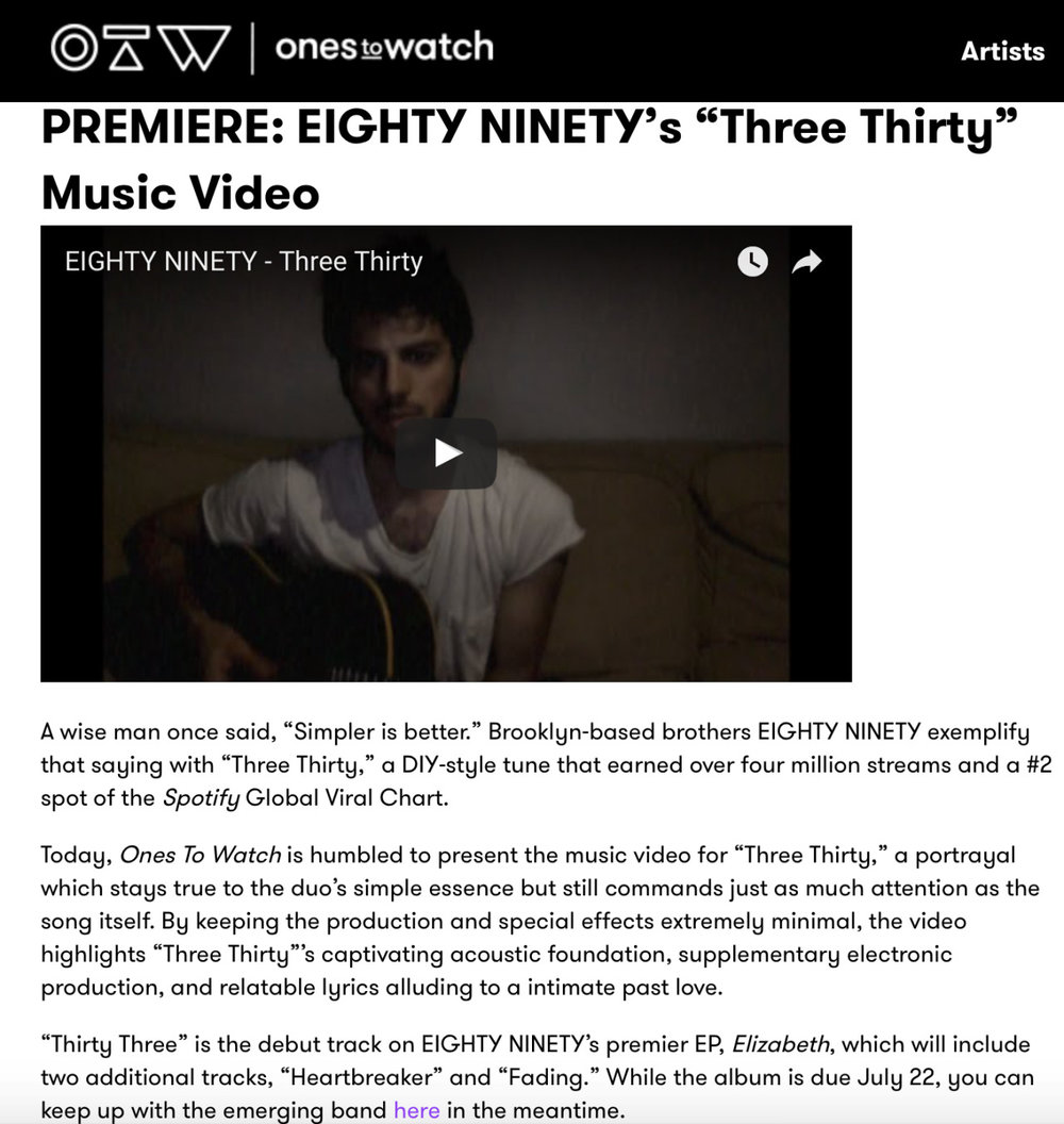 """Three Thirty"" video premiering over at the 🔥  @onestowatch"