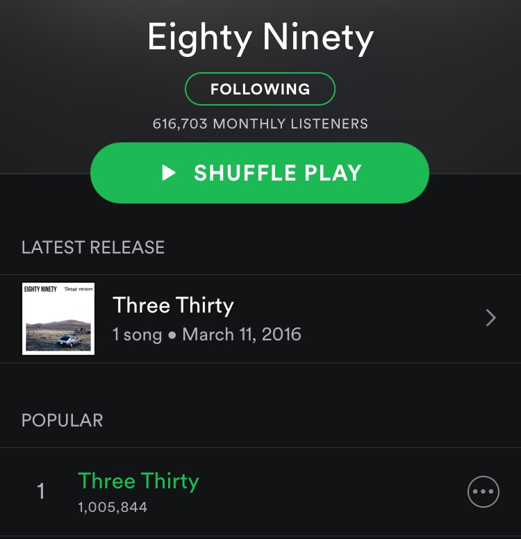 """""""Three Thirty"""" passed 1 million plays today. Sending much ❤ and gratitude to @spotify and to everyone who's listened, shared the song, sent us messages, and supported us! http://spoti.fi/1Ru4Tgm"""