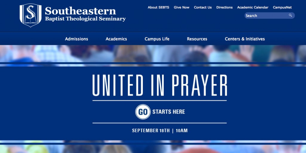 A screen shot from the SEBTS website