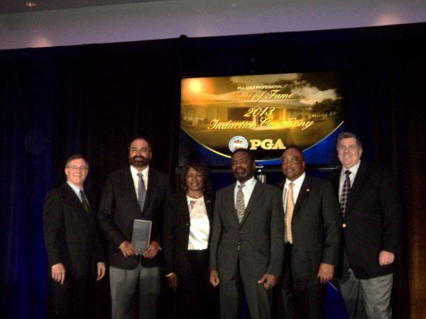 Andy Moock, Franco Harris, Renee and Larry Powell, Dr. Obie Bender, Brian Whitcomb at PGA Hall of Fame induction of Bill Powell.