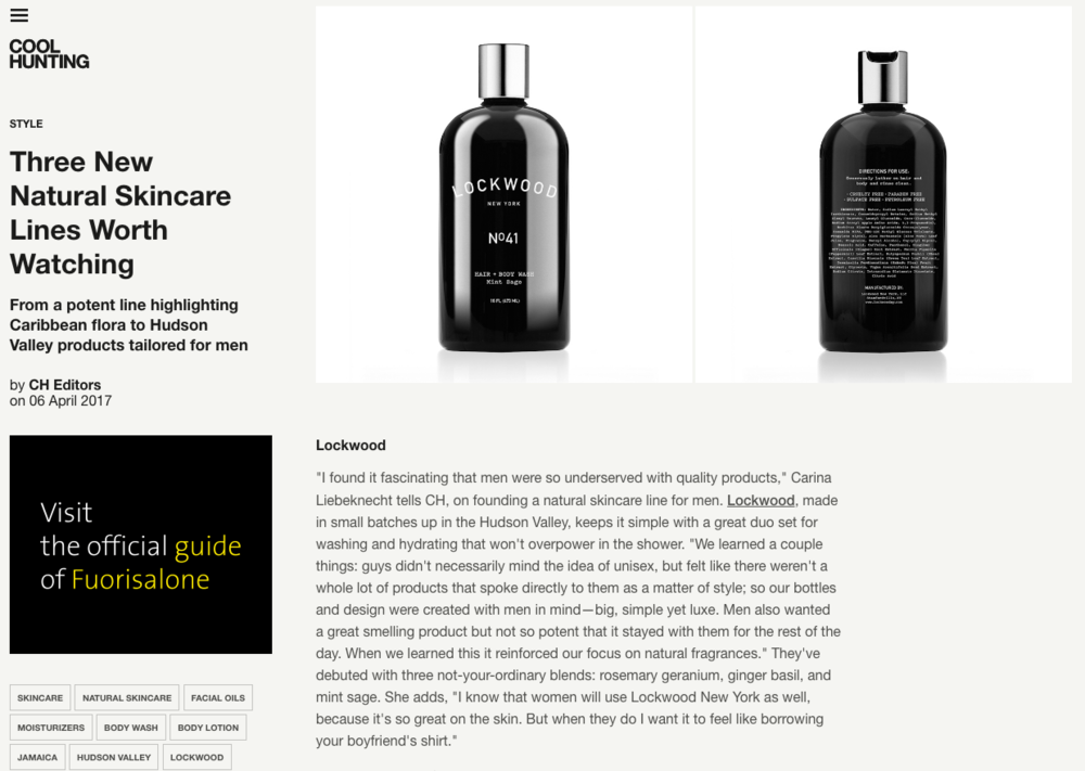 COOL HUNTING: CoolHunting.com Names Lockwood New York A Natural Skincare Line To Watch.