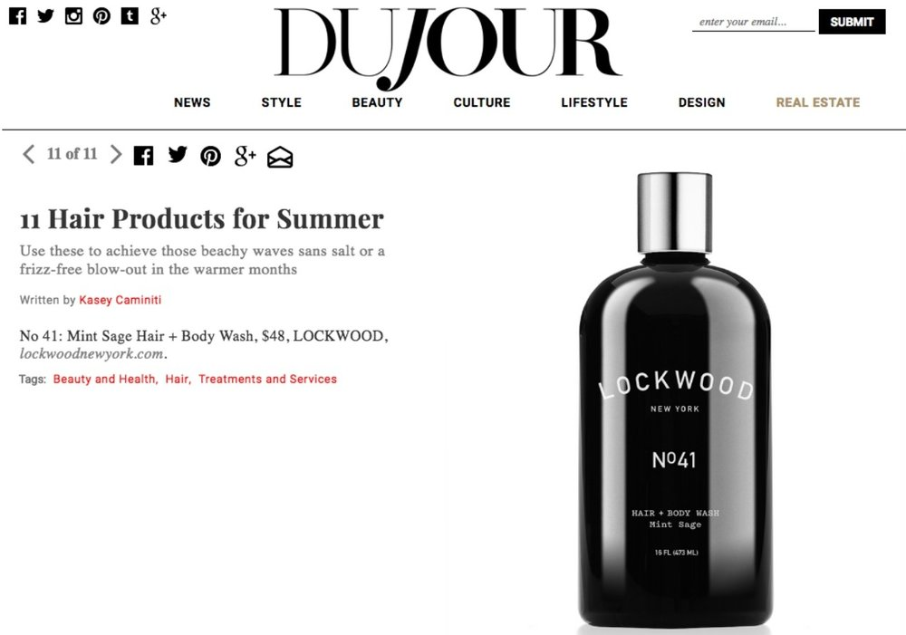 DuJour Magazine: Hair Products for Summer Featuring Hair+Body Wash No 41