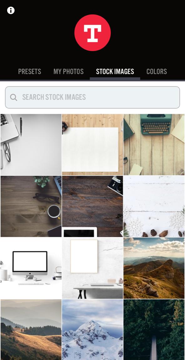 Typoramasta löytyy myös ilmaisia kuvia tai sitten voit ladata omia kuviasi sovelluksessa käytettäväksi.