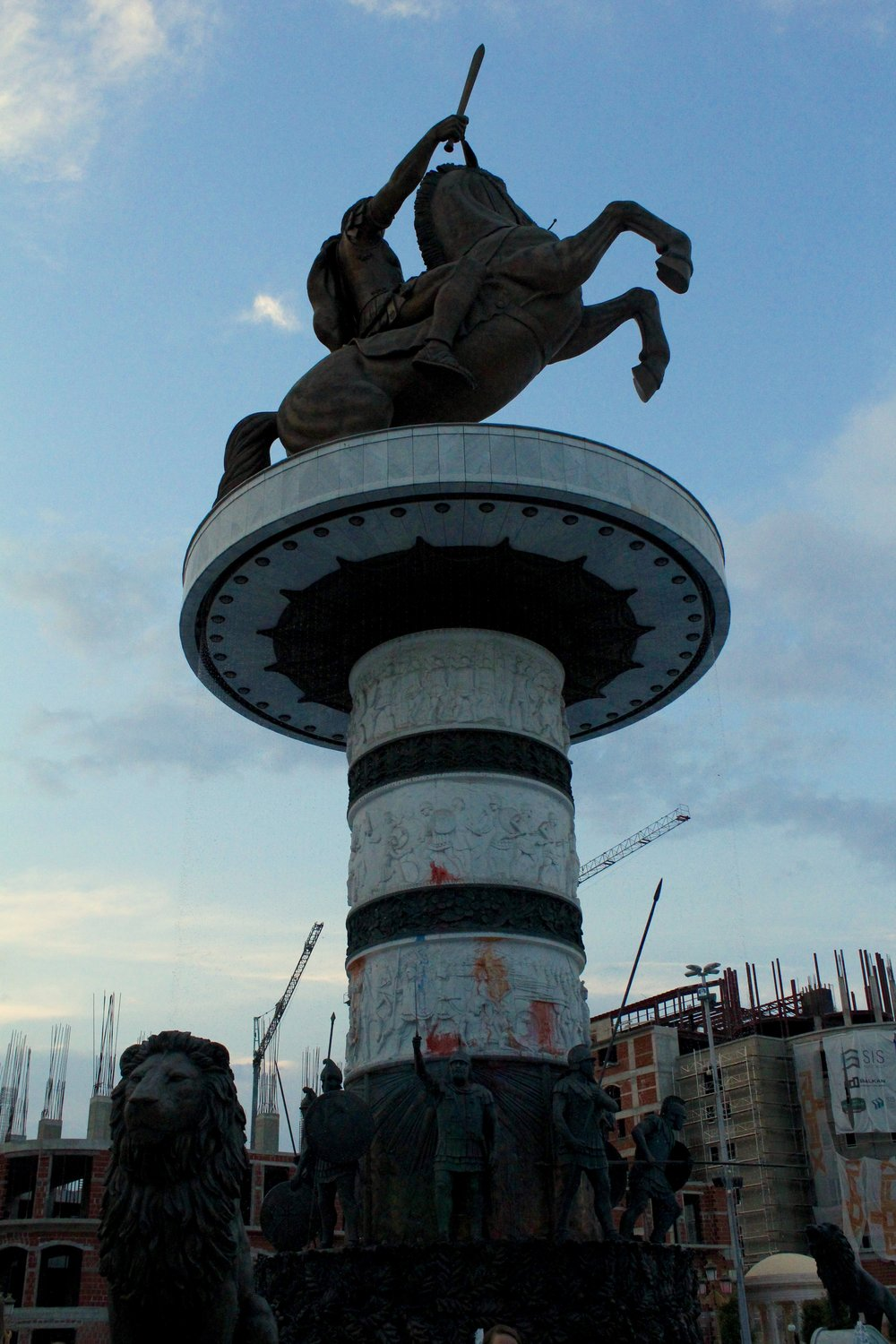 Paint on the base of a statue of Alexander the Great in Macedonia Square/ Плоштад Македонија