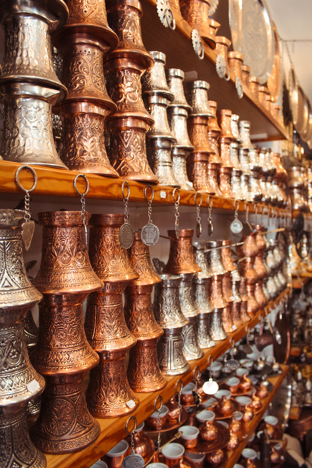 A shop filled with handmade Bosnian coffee sets and cookware. Many side streets in Baščaršija are lined with shops run by families of makers