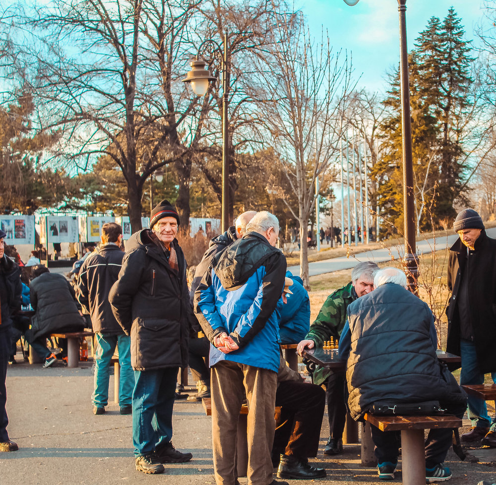 There are a handful of public chess tables in Kalemegdan park that always seem to be in use no matter the weather. This particular photo was taken in February.
