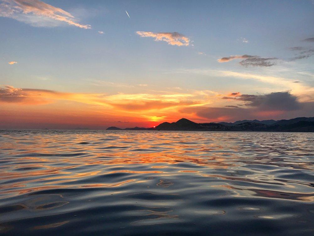 Sunset on the water, near Lokrum island.