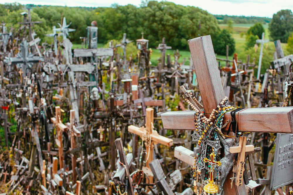 Visitors, Lithuanian or otherwise are welcome to leave crosses and rosaries of their own.