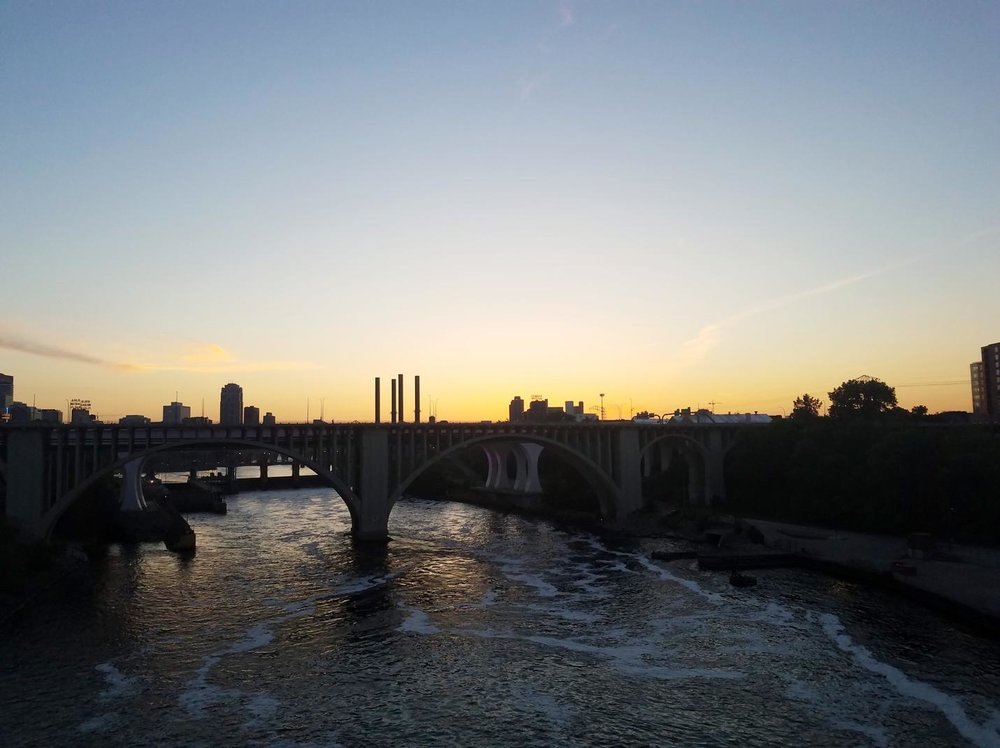 A view of sunset over the many bridges in Minneapolis. If you look closely, you can see the Stone Arch Bridge in the background. Head there on Tuesday nights in the summer to listen to free live music and entertainment.