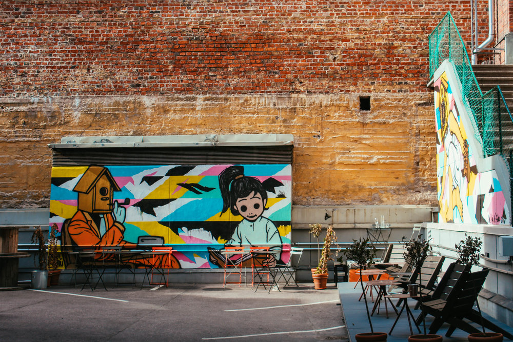 Many side streets lead to artfully designed outdoor spaces, some attached to cafes, others on their own.