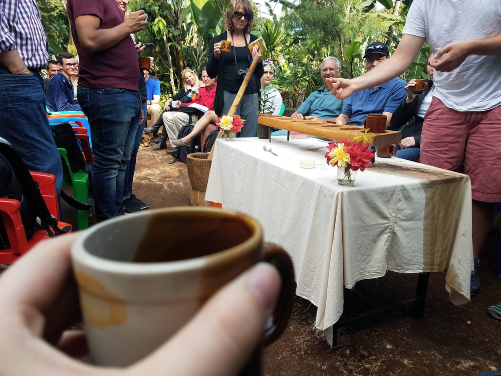 Coffee brewed from a mountainside farm in Moshi, near Mt. Kilimanjaro. We saw the farm to table process of picking, roasting and brewing.