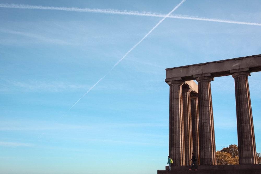 The sky mimics the Scottish flag.