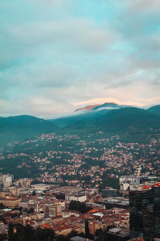 a sunset over Sarajevo