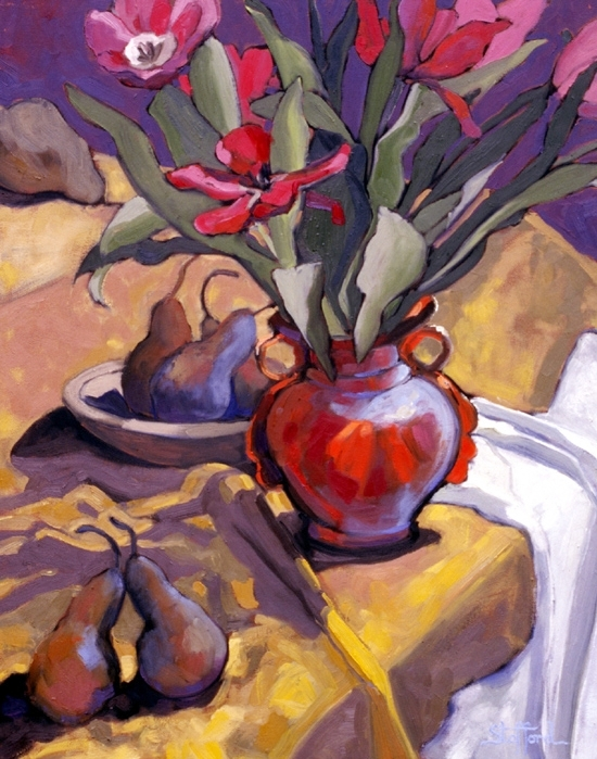 red tulips in orange vase   16 x 20