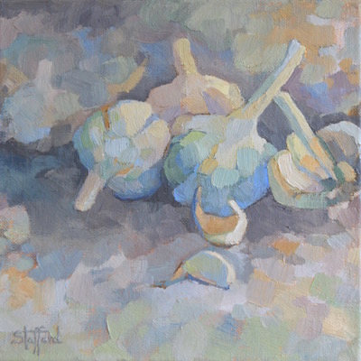 Garlic, 10x10, oil on linen