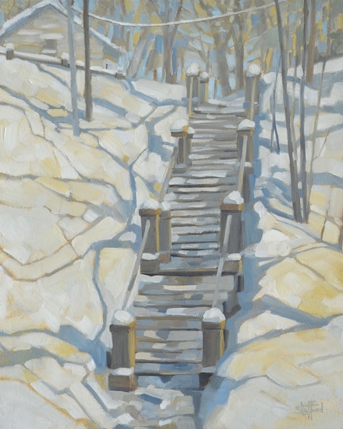 Stairway to Mason St. (Saugatuck), 20x24, oil on canvas