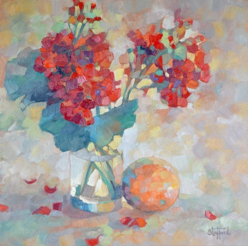 """""""Red Geranium"""" ,oil on canvas, 16x16 (sold)"""
