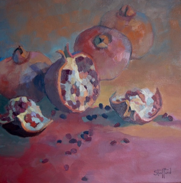 """""""Pomagranates"""" oil on canvas 16x16 (sold)"""