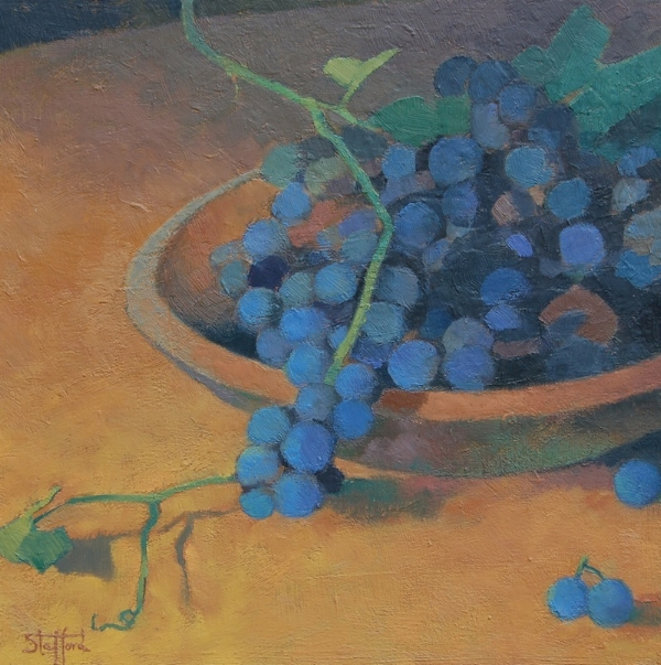 """""""Grapes in Wooden Bowl"""" oil on canvas 16 x 16 (sold)"""