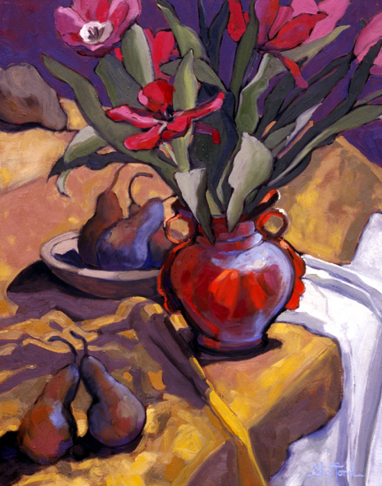 red tulips in orange vase 26x30