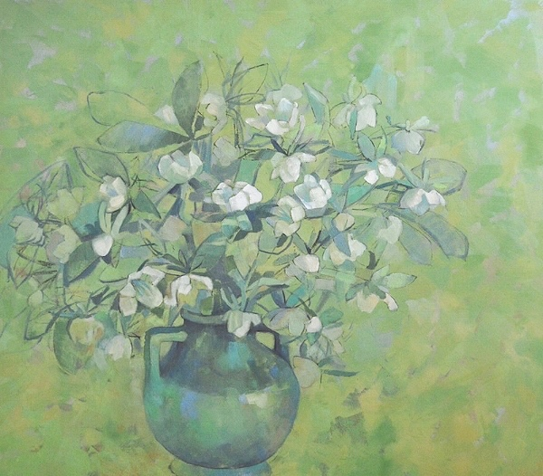 Lenton Rose in Green Vase, 42 x 48, oil on canvas