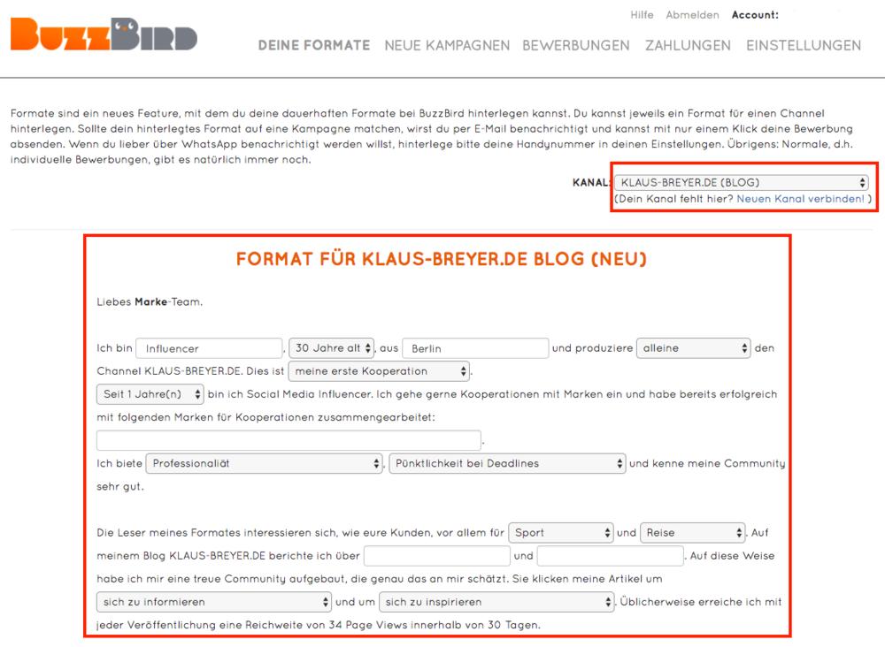 Das neue Feature von BuzzBird: automatisierte Bewerbungen von festen Formaten