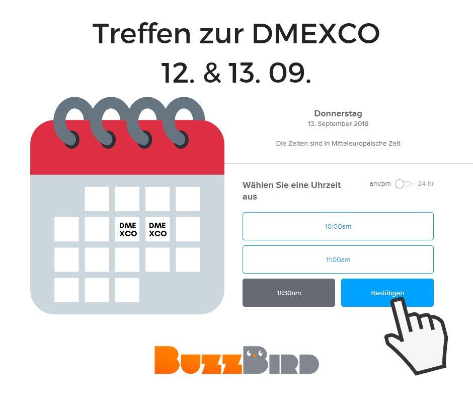Mittlerweile ist aus dem kleinen Start-Up BuzzBird ein großes Start-Up geworden, so dass wir dieses Jahr zur DMEXCO auch das erste Mal einen eigenen Stand bei unserem Partner ProSiebenSat.1 haben. Für alle, die sich über digitales Data-Driven Influencer Marketing informieren wollen, haben wir einen Kalender eingerichtet , damit wir uns persönlich unterhalten können.