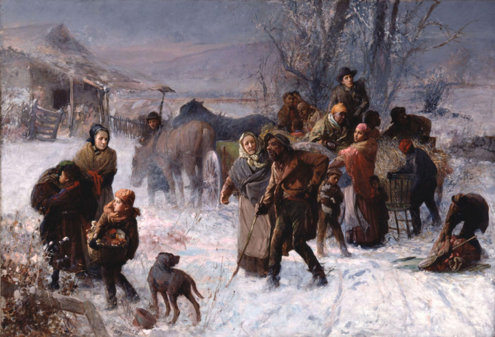 "Charles T. Webber's painting, ""The Underground Railroad"" features three prominent Cincinnati abolitionists: Levi Coffin (at right of cart), his wife, Catharine, (standing at center) and Hannah Haydock (far left)."