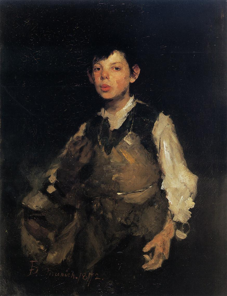 "Arguably one of the most famous Cincinnati paintings by Frank Duveneck in the museum's collection. ""Whistling Boy"" by Frank Duveneck painted in 1872."