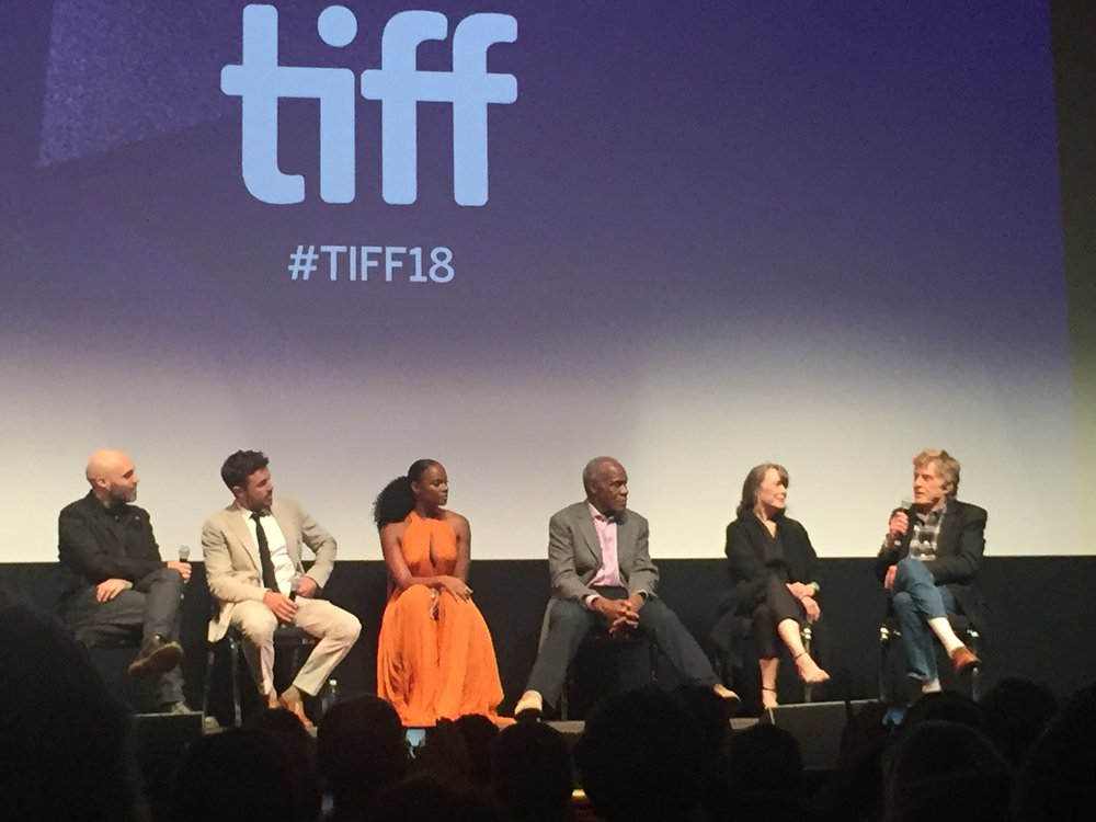 "(from left) Director David Lowery, Casey Affleck, Tika Sumpter, Danny Glover, Sissy Spacek and Robert Redford discuss ""The Old Man and The Gun"" after its screening Monday night at the Toronto International Film Festival."
