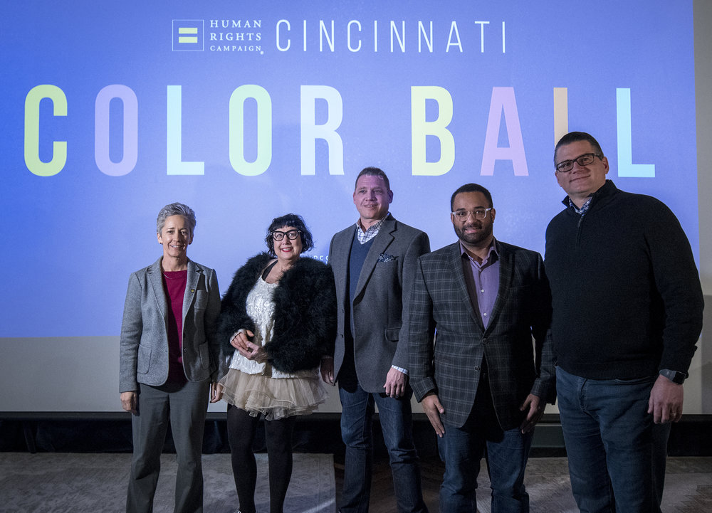 (L to R):  Karen Morgan, HRC Committee, Pam Kravetz, Aaron Weiner and Jordan Young, Co-Chairs of the 2019 Color Ball; and Jeff Herr, Founder of Fueled Collective, presenting sponsor of the Color Ball