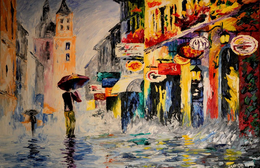 Umbrella on City Street - Reprint Available For Purchase